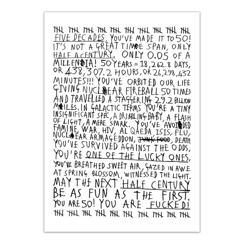 50th Birthday (Black On White) - Print