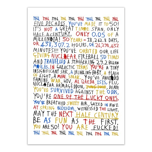 50th Birthday (Colour On White) - Print