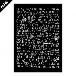 50th Birthday (White On Black) - Print